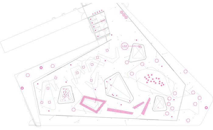 Lounge MS Creación de un nuevo concepto de espacio lúdico vinculado a la imagen de marca de la empresa. Generación de nueva tipología mediante la creación de la atmósfera específica y sus derivaciones en el diseño global: iluminación, mobiliario, e iconografía visual.